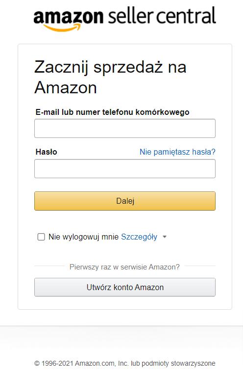 Amazon sprzedaż w Polsce. Jak założyć konto sprzedawcy na Amazon i Amazon PL sklep? Okno z napisem: Zacznij sprzedaż na Amazon.