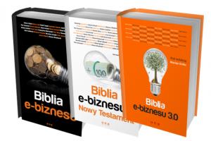 Grafika reklamująca produkt Biblia biznesu 3.0, tekst na grafice: Biblia e-biznesu 3.0.