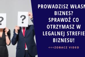 Grafika promująca prodult Legalna Strefa Biznesu autorstwa Ilony Przetacznik. Tekst na grafice: Prowadzisz własny biznes? Sprawdź co otrzymasz w Legalnej strefie biznesu!